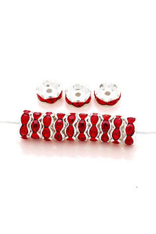 Harga 10pcs Crystal DIY Wavy Silver Plated Center Drilled Spacer Jewelry Making Beads 8x8x3.4mm Red