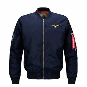Harga Mens Solid Flight Collar Bomber Jacket