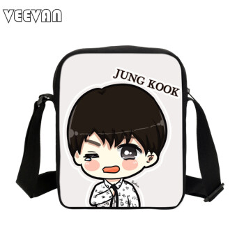 Harga Korean BTS Bags Cute Cartoon Printing Messenger Bags With SUGA Rap Monster JIN J-HOPE JUNG KOOK JIMIN V Shoulder Bag Girls Fans