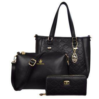 Harga 100% Original British Polo Classic Emboss Ladies Handbag Value Set Black (PL61127-01)