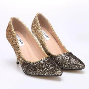 Harga MG High Heel Pointed Toe Pumps Womens Shoes Gradient Sequined Bride Shoes (Gold)