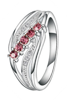 Harga Fancyqube Best Size7-8 Elegant Lady 925 Sliver Hollow Mosaic Five Red Diamond Wing Ring Silver+Pink