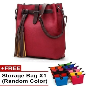 Harga Ancona European Style PU leather Slingbag Handbag bag tote canvas travel (Red)