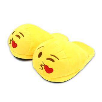 Harga Emoji Kiss Face Plush Stuffed Unisex Slippers
