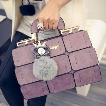 Harga Women Suture Boston Bag Inclined Shoulder Ladies Hand Bag Women PU Leather Handbag Sac Woman Bags Handbags (Lavender)