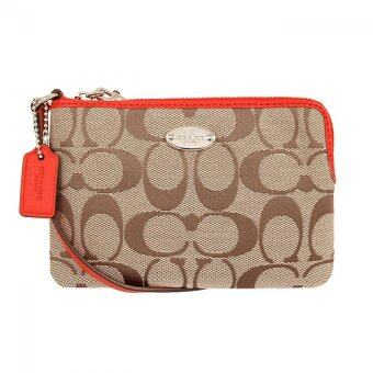 Harga Coach 64375 Signature Corner Zip Wristlet (Red)