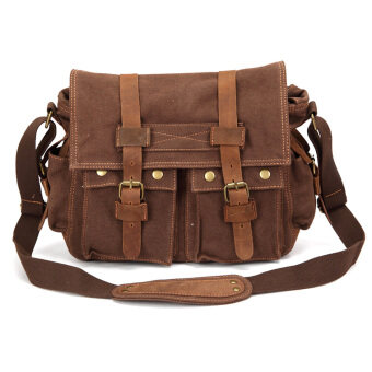 Harga 360DSC AUGUR Vintage Men's Casual Canvas Crossbody Shoulder Messenger Bag - Coffee