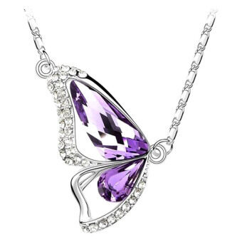 Harga SoKaNo Trendz Butterfly Heart N07 Necklace With Australian Crystal- Purple
