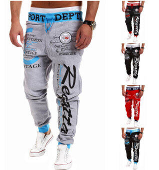 Harga Men's Fashion Casual Letters Printed Patch Pocket Sports Bundle Foot Cotton Sweat Absorbent Pants Trousers Joggers(Color:Grey5)