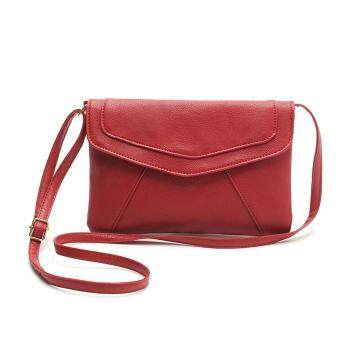 Harga MG New Women Ladies Soft Synthetic Leather Pure Color Hasp Closure Messenger Bag Casual Party Small Shoulder Bag (Red)
