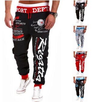 Harga Men's Fashion Casual Letters Printed Patch Pocket Sports Bundle Foot Cotton Sweat Absorbent Pants Trousers Joggers(Color:Black2)
