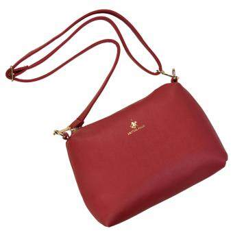Harga British Polo Faux Leather Sling Bag Red (PL-s61127-03)