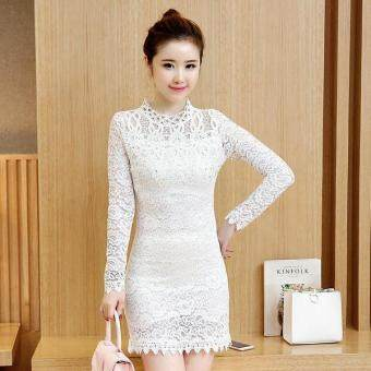 Harga JYS Fashion : Korean Style Lace and Chiffon Midi Dress Collection 75 5918-White