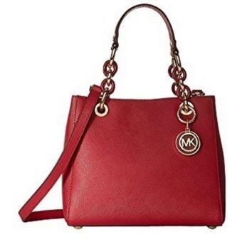 Harga Michael Kors Medium Cynthia Leather Satchel Cherry Red