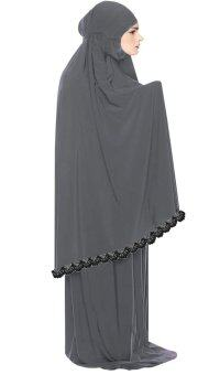 Harga Hijabera - Maryam telekung with black lace border for adults (Grey)