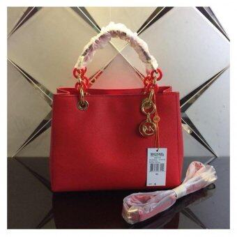 Harga Michael Kors Cynthia Medium Leather Satchel - Red