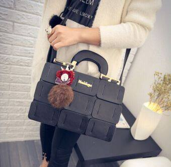 Harga 2016 The new spring/summer women bag suture Boston bag inclined shoulder bag women leather handbags(black)