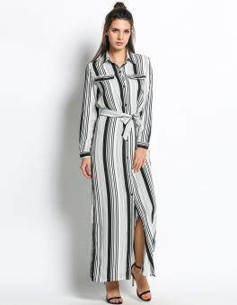 Harga MG Maxi Side Slit Party Striped Long Maxi Shirt Dress(Black&White)