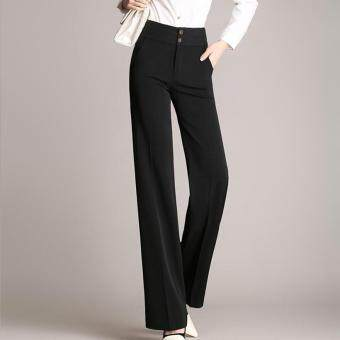 Harga Women Wide Leg Pants Hitz Casual Loose Black Trousers Plus Size XXXL XXXXL