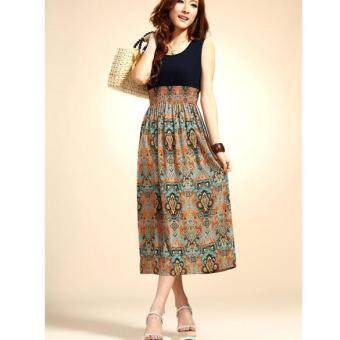 Harga MG Vintage Bohemian High Waist Long Dress (Orange)
