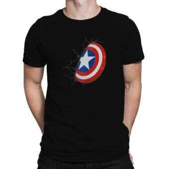 Harga Captain America 3D Custom Design Men's Black Cotton T-Shirt
