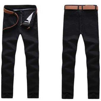 Harga good quality Man Trousers New Pattern Solid Color Pure Cotton straight men casual stem-pipe long pants(black)