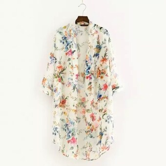 Harga MG Fashion Lady Women 3/4 Sleeve Front Open Neck Floral Asymmetric Hem Loose Chiffon Blouse (White)