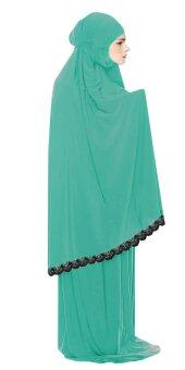 Harga Hijabera - Maryam telekung with black lace border for adults (Ocean Green)