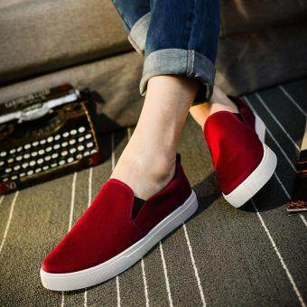 Harga Victory Fashion Man Canvas Han edition Casual breathable lazy person shoes(Red)