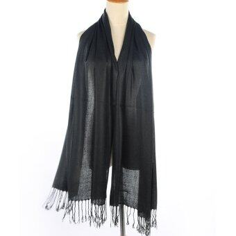 Harga Women Long Candy Pure Colors Scarf Wraps Shawl Stole Soft Dacron (Black)