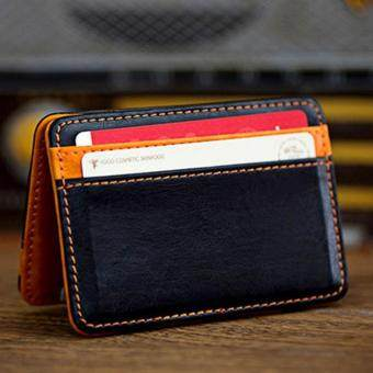 Harga Mini Neutral Magic Bifold Leather Wallet Card Holder Wallet Purse Money Clip Free Shipping