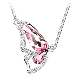Harga SoKaNo Trendz Butterfly Heart N07 Necklace With Australian Crystal- Pink