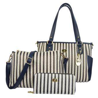 Harga 100% Original British Polo 3 in 1 Value Set Women Bag (PL61129-Blue)