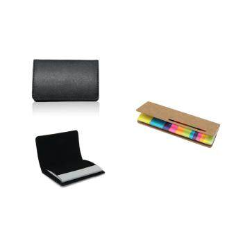 Harga PU Leather Name Card Holder + RAINBOW ECO STICKY NOTEPAD