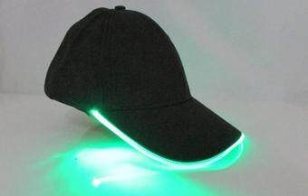 Harga LED Light Glow Club Party Sports Athletic Black Fabric Travel Hat Cap Green Light