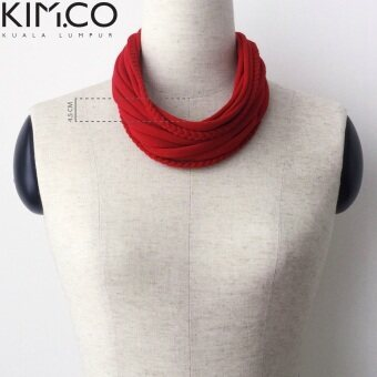 Harga KIM.CO Women Scarf Necklace (CIRCLET Special-Basics with braids) in Scarlet Red strips & handle