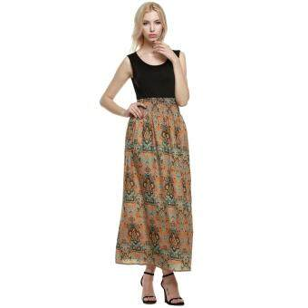 Harga MG Ladies Sleeveless Bohemia Style Maxi Dress High Waist Print Party Beach Slim Long Dress(Black)