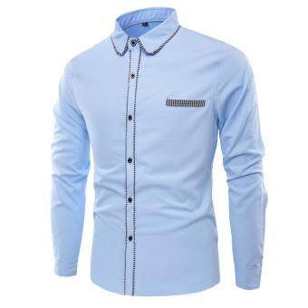 Harga Men's long-sleeved shirt fashion hit color big size shirt Light blue