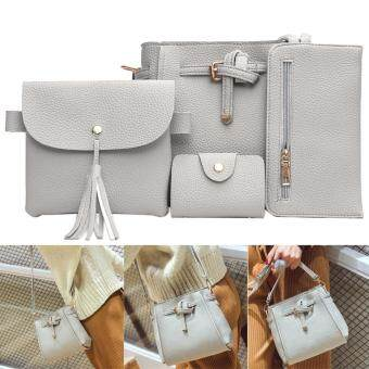 Harga 4pcs New Women PU Leather Wallet Lace-up Shoulder Bag Card Phone Hold (Grey)