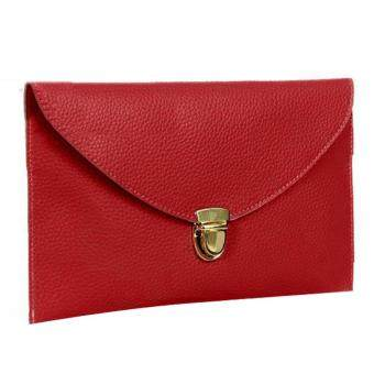Harga MG Golden Chain Envelope Purse Clutch Synthetic Leather Handbag Shoulder Bag (Red)