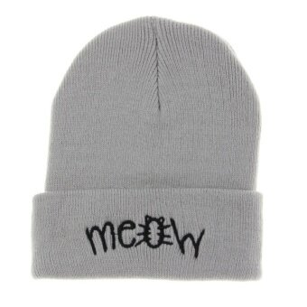 Harga MEOW Cap Winter Casual Hip Hop Knitted Wool Skullies Beanie Hat (Gray)