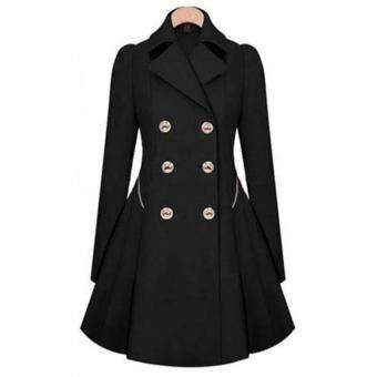 Harga MG Slim Long Wind Jacket Lapel Trench Outwear Coat(Black)