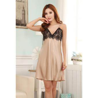 Harga Sexy Lingerie Hot Female Faux Silk Nightdress Woman Halter Blackless Lenceria Sexy Costumes Nightgowns Sleepskirts(Champagne)