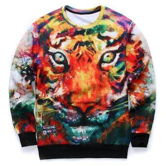 Harga Men's Fashion Cool Tiger 3D Print Hip Hop Style Sweatshirts