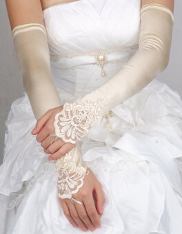 Harga YBC Bride Gloves Fingerless Satin Lace Wedding Prom Gloves Champagne