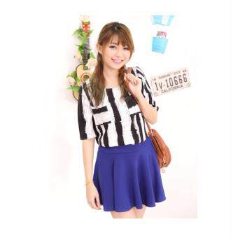 Harga LuvClo Fancy Vertical Stripes Pockets Top (Black)