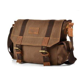 Harga AUGUR 7031 Canvas and Leather Cross Body Bag (Coffee)