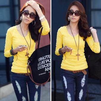Harga MG Basic V-Neck Fitted Solid Top Plain T-Shirt Junior Top Blouse (Yellow)