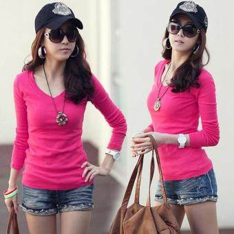 Harga MG Basic V-Neck Fitted Solid Top Plain T-Shirt Junior Top Blouse (Rose Red)