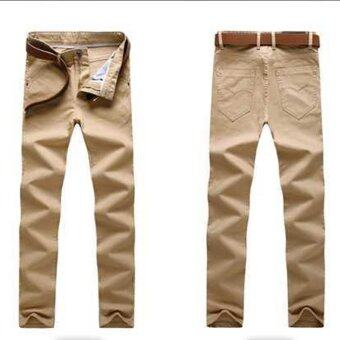 Harga good quality Man Trousers New Pattern Solid Color Pure Cotton straight men casual stem-pipe long pants(khaki)